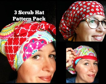 Scrub Hat Sewing Pattern Tutorial Diy Downloadable Pdf Make 3 Styles of Caps Reversible Bow Front Pixie Tieback Fully Lined  #dba3r DOWNLOAD