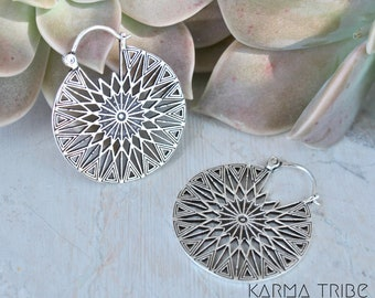 Silver plated earrings. Mandala earrings. Tribal jewelry. Bohemian mandala earrings. Silver carved earrings. Ethnic hoops earrings.