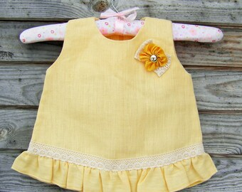 Linen Ruffle Dress, Flower Girl, Rustic Wedding, Toddler linen dress, Yellow Linen, Girls summer dress, Round Neck, Country Dress, Handmade