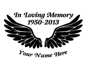In Loving Memory Angel Wings Die-Cut Decal Car Window Wall Bumper Phone Laptop