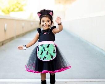 Kitty CAT costume for girls, Cat costume, Cat costume for toddler, black cat costume, kitten costume, black cat tutu dress for girls