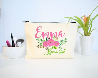 Flower Girl Makeup Bag, Flower Girl Gift, Personalized Flower Girl Gift, Make Up Bag, Monogram Cosmetic Bag, Floral Makeup Bag, Canvas Bag