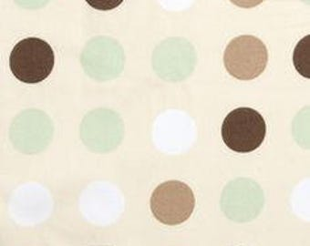 Beige Fabric with Brown Green and White Polka Dots  1 3/4 yards