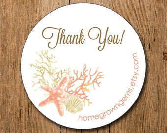 Customized Thank You Stickers -  Starfish Coral Seashell Sea  - Party - Packaging Display - Thank You Stickers