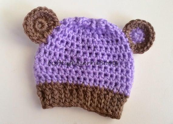 Crochet Baby Bear Hat Pattern Purple