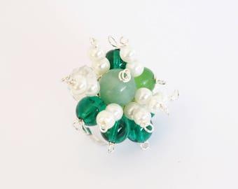 ladies ring, finger rings, statement ring, adjustable ring, boho ring, green, white, glass bead, boho ring, handmade, handcrafted, women
