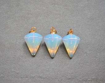Nature opal Pendulum Pendant ,Faceted Pyramid stone pendant