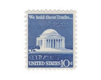 10 Vintage Unused Postage Stamps - 1972 10c Jefferson Memorial - Item No. 1510