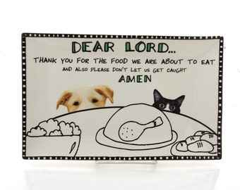 gift for pet lover, cat and dog platter, food blessing, serving piece, ceramic
