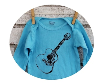 Long Sleeved Guitar Infant Creeper, Cotton Baby Bodysuit, One Piece Snapsuit, Light Blue, Hand Printed, Baby Shower Gift, Musicians Children