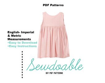 Empire Waist PDF Dress Pattern 3/6M- 4Y