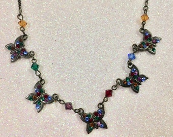 Bellagio Crystal Butterfly Necklace Blacktone with Multi Colored Rhinestones