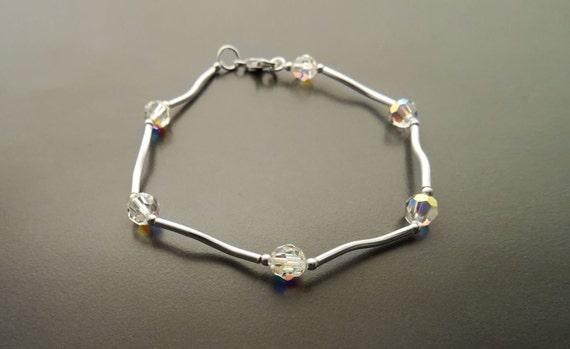 Minimalist Bracelet, Sterling Silver 925 - Beaded Bracelet. Modern Jewelry. Casual Crystal Bracelet - Borealis Crystal Beaded Bracelet -