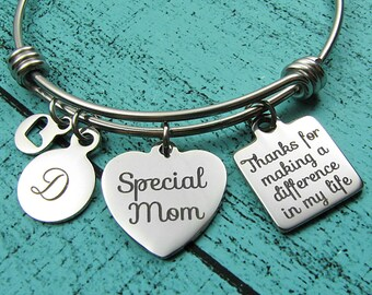 special Mom bracelet, step mom gift, foster Mom, stepmom of the bride gift, thanks for making a difference, special mother adoption gift