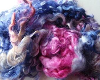 Wensleydale dyed locks Beautiful Blues purple and pink blythe, doll hair, lock spinning, tail spinning, felt, felting