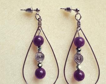 Deep Purple Amethyst Hoop Earrings