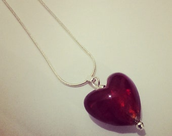 Red heart necklace glass foil lined heart on silver snake chain with silver plated beads