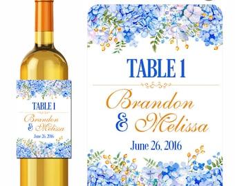Custom Table Number Wedding Wine Labels Personalized Stickers Blue Hydrangea Flowers - Waterproof Vinyl 3.5 x 5 inch