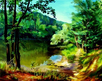 Landscape painting oil on the canvas.