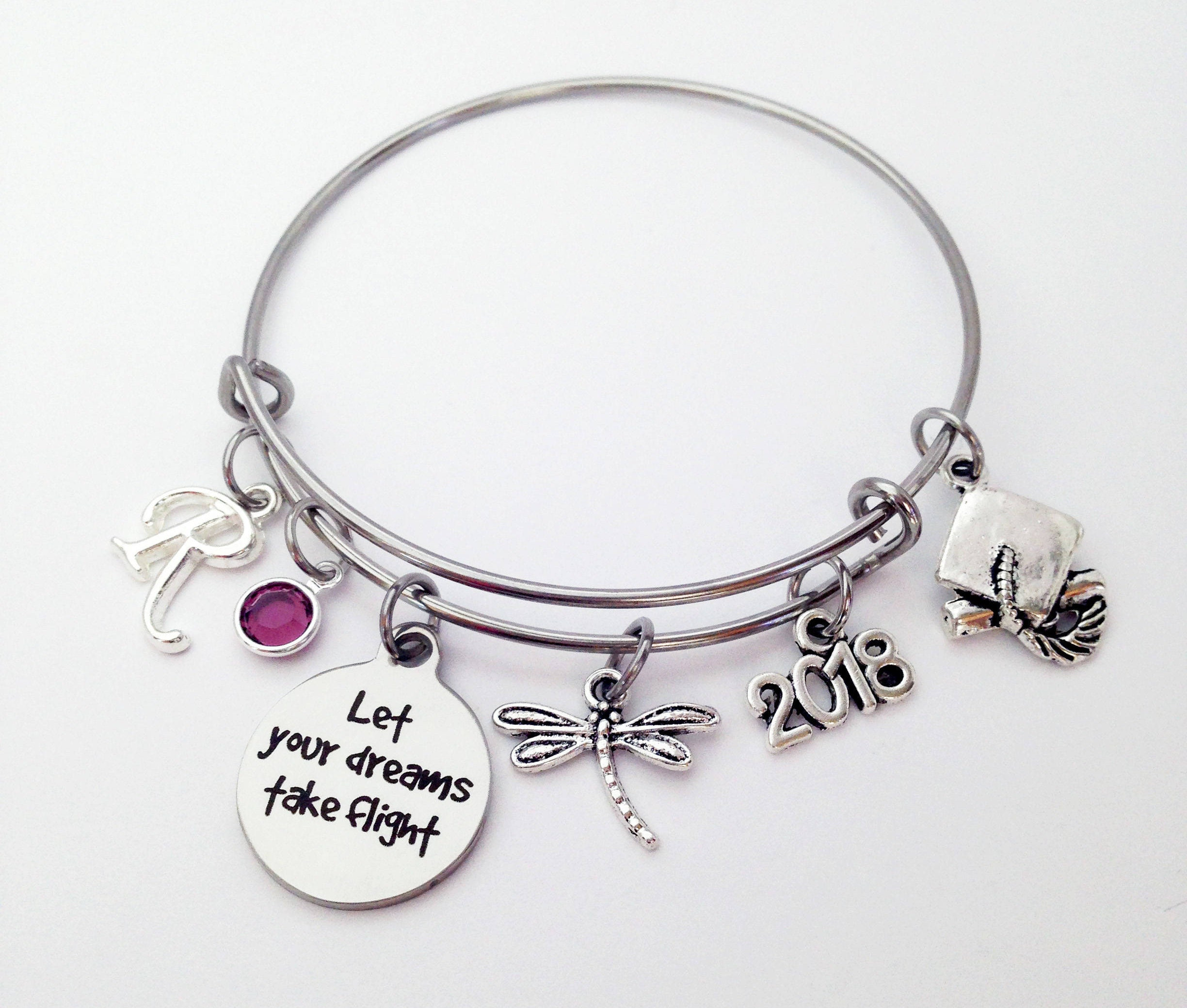 graduate bracelet bangle cap img trendy silver wire stacking expandable teenager products gift graduation charm