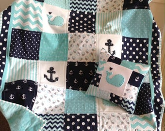 Nautical Baby quilt/Aqua Navy and White/HANDMADE in USA/Pillow Optional