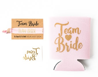 Blush + Gold Team Bride Bachelorette Gift Set | Metallic Gold Tattoo, Hair Tie + Drink Cooler | Bachelorette Party Favor