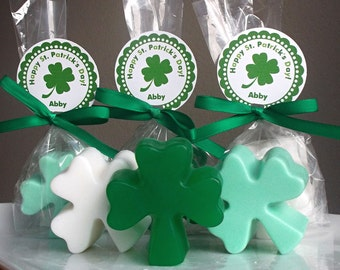 Irish Wedding Favor - Irish Party Favor, St Patricks Day Wedding Party Favors, Bridal Shower Gifts, Shamrock Soap Favors - Set of 10