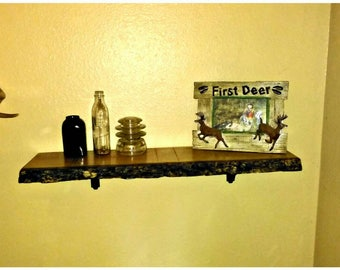 Live edge Red Oak shelf.