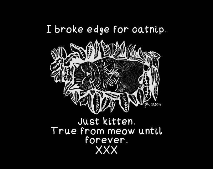Punk Shirts Straightedge Shirts Straight Edge Shirt Cat SXE XVX XXX Pure Sober Drug-free Poison Free Humor Meow Catnip Black Cloth Shirt