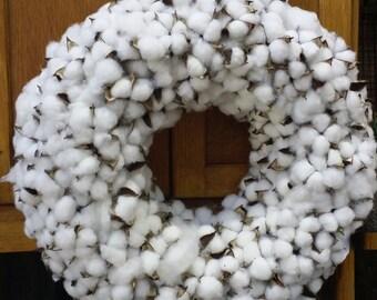 18 inch Cotton wreath , wedding wreath , round cotton wreath ,white cotton wreath, cotton bolls, mirror wreath ,table wreath