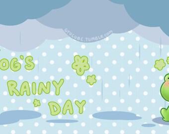 Rainy Day Frog Pencil Case