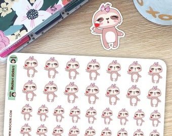 Wine Sloth Stickers / Planner Stickers / Decorative Stickers / 32 Stickers