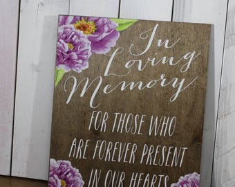 In Loving Memory/Flowers/Peonies/Watercolor/Memory Sign/Wood Sign/Memory Table/Reception Sign/Wedding Sign/Lavender/Stained Wood