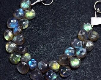 8MM Blue Flash Labradorite Faceted Heart Briolette Bead 4.5 Inch Strand