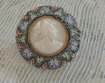 Micromosaic Cameo Brooch, Mother of Pearl Cameo - REDuCED