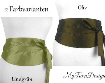 Waist belt, wide belt, Corsagengürtel, Fabric belt, tie belt, obi, festive, loop, light green, olive, taffeta, XS, S, M, L, XL, XXL