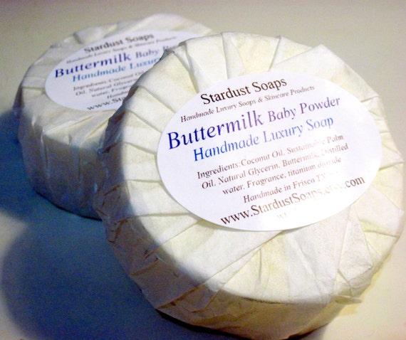 Buttermilk Baby Powder Bar Soap (handmade, gentle, lots of lather, aromatic, buttermilk soap, packaged 5 oz net)