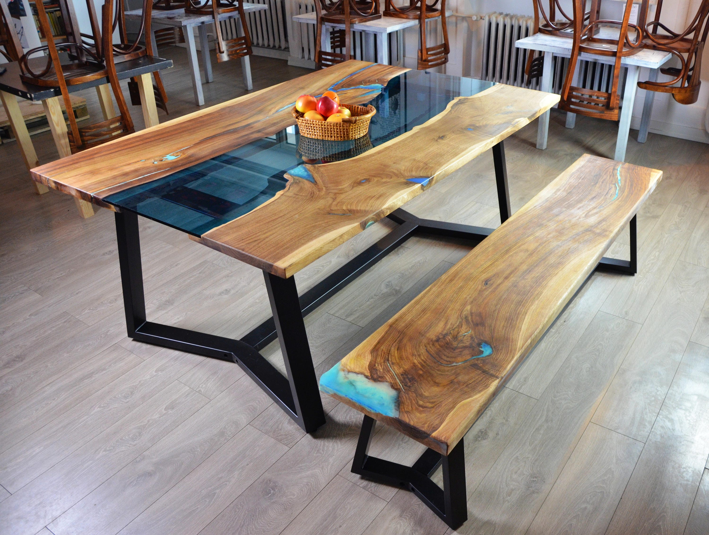 Live edge river dining table with bench and glowing resin fill