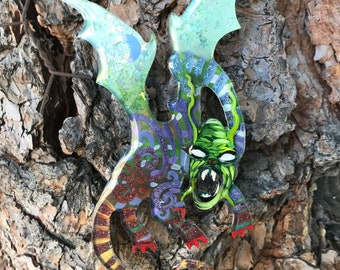 09 jabberwocky 549 // lucite jewelry, acrylic painting, shawl pin, painted brooch, laser cut, pop art, lowbrow art, mini painting, fan art