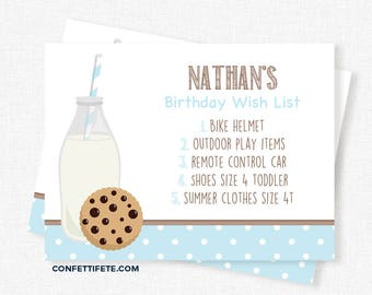Milk and Cookies Birthday Wish List Inserts, Birthday Gift List Cards, Invitation Wish List Inserts, Milk and Cookie Printable