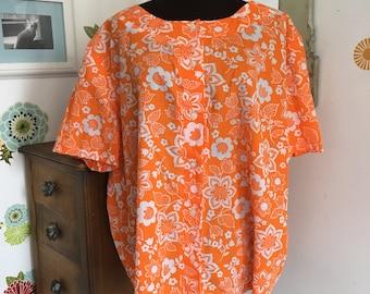 Vintage Lane Bryant Hawaiian Shirt, Orange Blossom Blouse