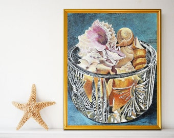 Sea Shell Art, Coastal Decor, Still Life Art, Shell Painting, Living Room Decor, Wall Painting, Beach Decor, Canvas Painting