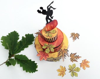 Fall wedding cake favor box, DIY printable crafts project, stripes leaves pumpkin chestnut, autumn colors, bridal pair gift packaging, 3.pdf
