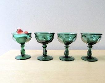 emerald green champagne sherbet imperial glass old williamsburg dark green glassware