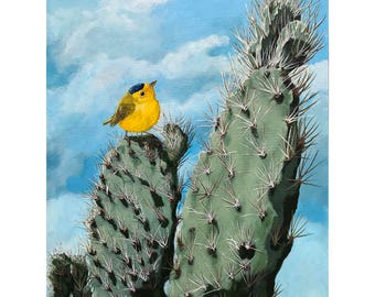 Cactus and Wilson Warbler original wildlife painting
