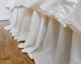 SIMPLE... BED SKIRT in 100% linen, dust ruffle, bed skirt