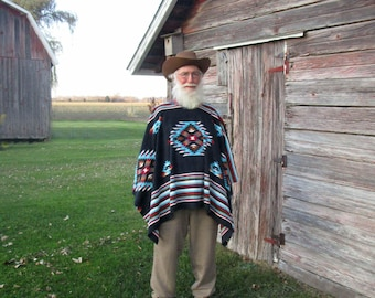 Poncho In Southwest Print Fleece