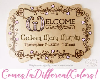 Custom Welcome Baby Girl - Handmade, Wood-Burned Welcome Baby and Hearts Sign with Watercolor Accents, Wall Hanging