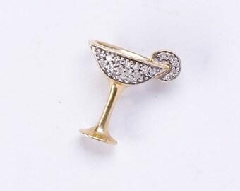 Gold Martini Pendant / Charm - 10k & Pave Diamonds - 3D Cosmopolitan - FREE US Shipping