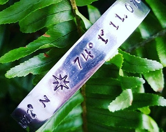LONGITUDE AND LATITUDE Coordinates  ~ Hand Stamped Personalized Custom  Quote Sterling Silver or Aluminum Cuff Bracelet